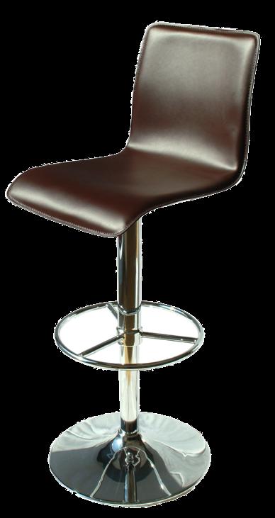 Milan Adjustable Brown Leather Stool