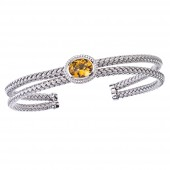 Silver with Oval Citrine Double Row Cuff Bracelet