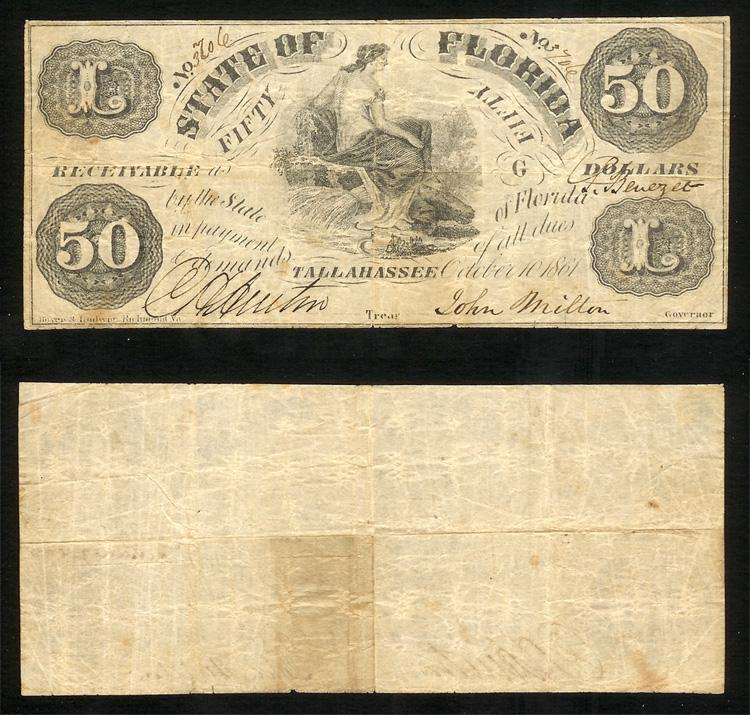 FLORIDA STATE $50.00 1861 Cr#3A Invert Fifty Stk# FL419