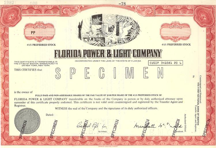 FL O SPEC STOCK FLORIDA POWER & LIGHT Stk FLO-59