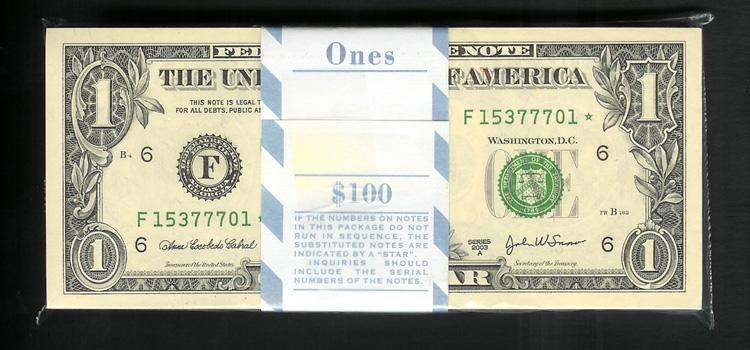 SM FRN $1.00 STAR PACK 2003A Fr1931F*fw Stock # S216