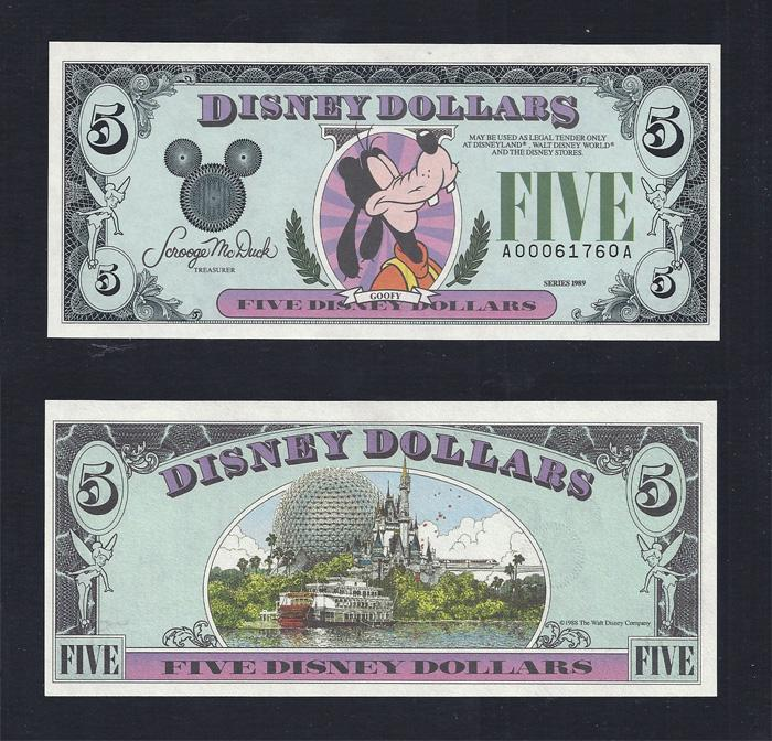 "Disney $5.00, 1989 ""A"" UNCIRCULATED, Stock # D134"
