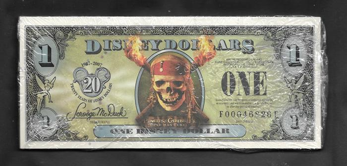 "Disney PACK of 25 $1.00, 2007 ""FF"" UNCIRCULATED, Stock # D196"