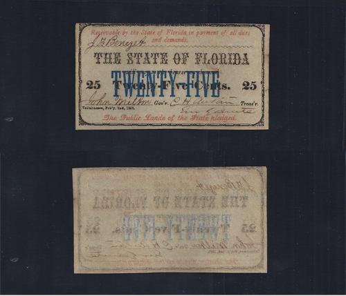 FLORIDA STATE .25¢ 1863 Cr# 24 Stock # FL1042C