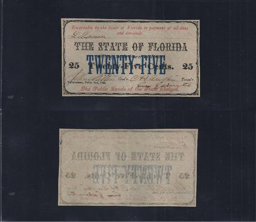 FLORIDA STATE .25¢ 1863  Cr# 24 Stock # FL1043C