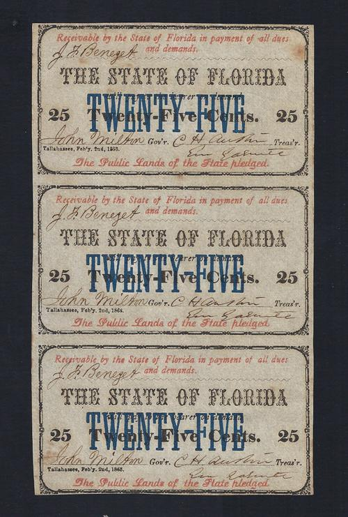 FLORIDA STATE .25¢ UNCUT 1863 Cr # 24 Stock # FL1046C