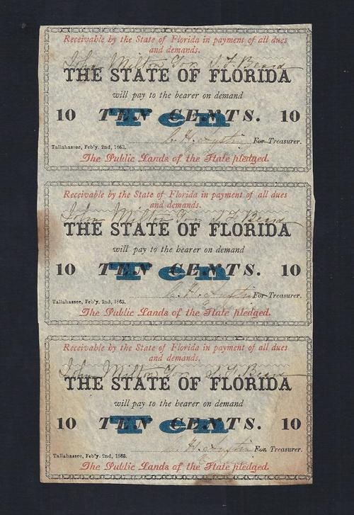 FLORIDA STATE .10¢ UNCUT 1863 Cr # 30 Stock# FL1054C
