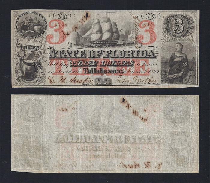 FLORIDA STATE $3.00 1863 Stock # FL481