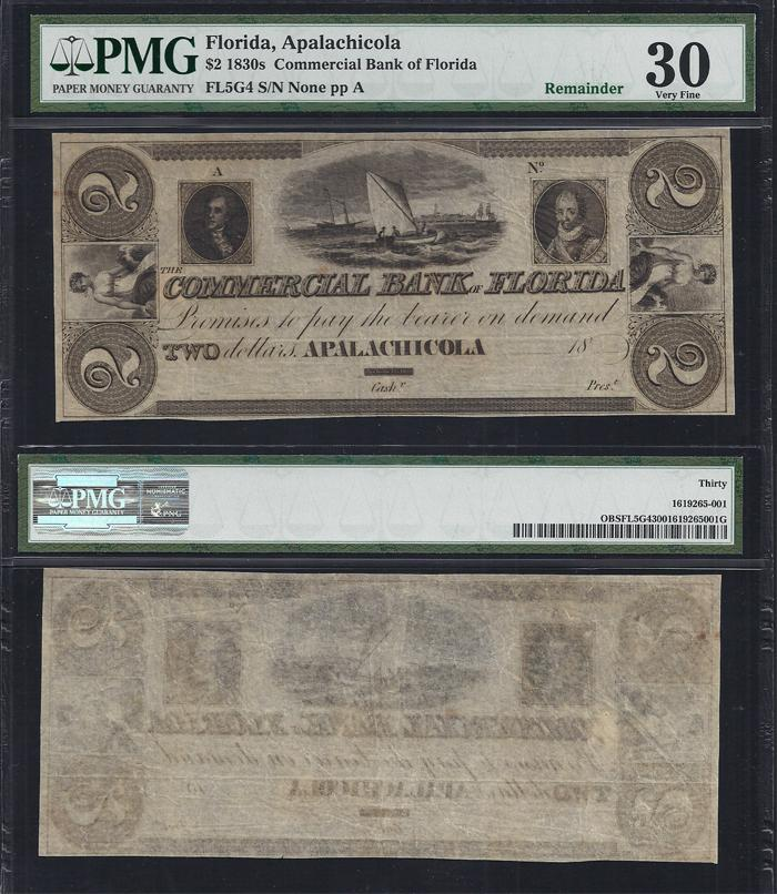 FLORIDA APALACHICOLA $2.00 Commercial Bank PMG 30 Stock # OFL2014C