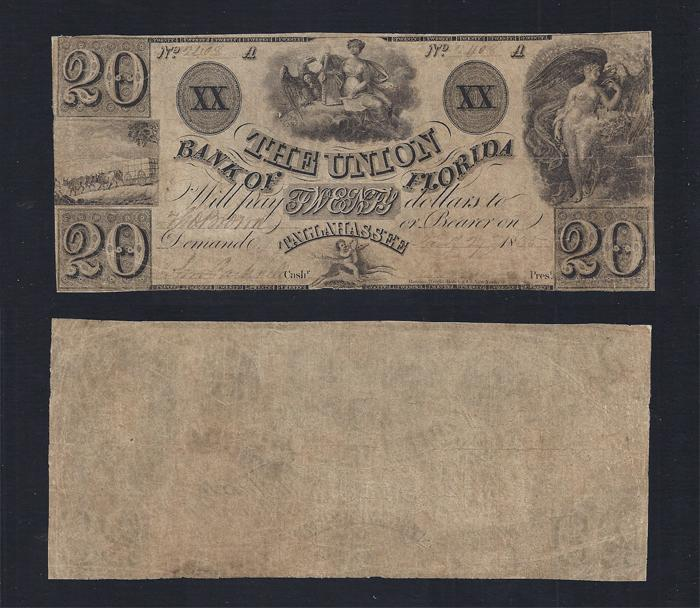 FLORIDA TALLAHASSEE $20.00 Union Bk of FL Fine Stock # OFL2182C