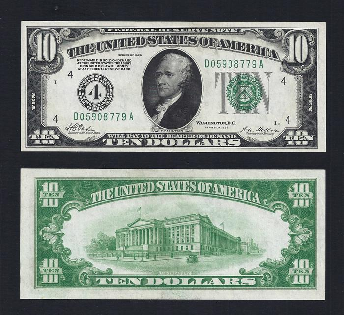 SM FRN $10.00 1928 Cleveland Choice Unc. Stock # S1006C