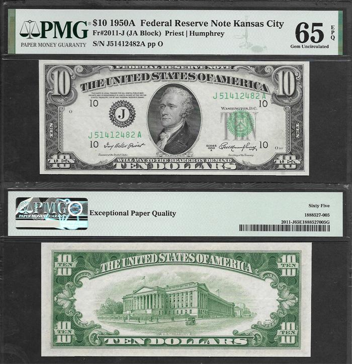 SM FRN $10.00 1950A Kansas City PMG 65 Stock # S1030C