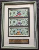 "Disney $10.00, $5.00, & $1.00, 1997 ""D"" in Disney 25th Anniversary Framed Set Stock # D2"