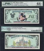 """Disney $1.00, 1987 """"A"""" First Issue PMG 64 EPQ, Stock # D186"""