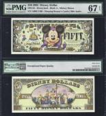 "Disney $50.00, 2005 ""A"" Large Head PMG 67, Stock # D155"