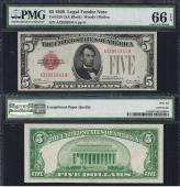 SM Legal US Note. $5.00 1928 PMG 66 EPQ Stock # S450PY