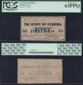 FLORIDA STATE .50¢ 1863 PCGS 63PPQ Cr# 20 Stock # FL633