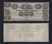 FLORIDA APPALACHICOLA $5.00 Bank of West Florida VF Stock # OFL2171C