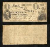 FLORIDA STATE $1.00 9/16/1861 Gov Perry Stk # FL544PY