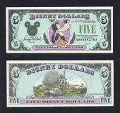 "Disney $5.00, 1990 ""D"" UNCIRCULATED, Low Number, Stock # D135"