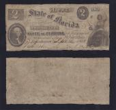 FLORIDA STATE $2.00 9/16/1861 Gov Perry Stk # FL563PY