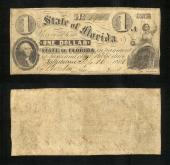 FLORIDA STATE $1.00 9/16/1861 Gov Perry Stk # FL543PY