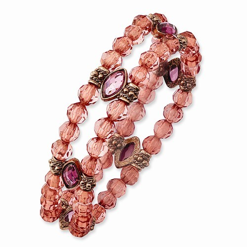 Rose-Tone Pink and Purple Acrylic Bead Stretch Bracelet
