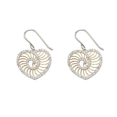 Gold Plated CZ Heart Earrings