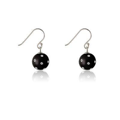 Black Studded Enamel Ball Earrings
