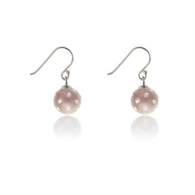 Pink Studded Enamel Ball Earrings