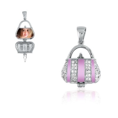 Light Pink Enamel and CZ Pocketbook Locket