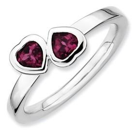 Sterling Silver Double Heart Rhodolite Garnet Ring