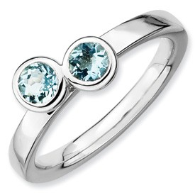 Sterling Silver Double Round Aquamarine Ring