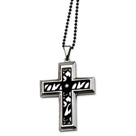 Stainless Steel Fancy Cross with CZ