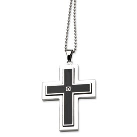 Stainless Steel with Black Enamel and CZ Cross