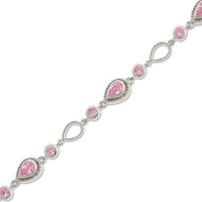 Pink Pear Shaped CZ Bracelet