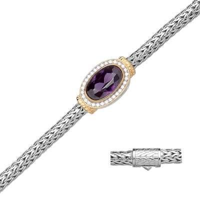 Mesh Amethyst & CZ Bracelet