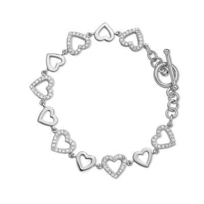 Toggle Heart CZ Bracelet
