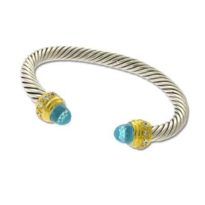 Blue Topaz & CZ Cable Cuff Bangle