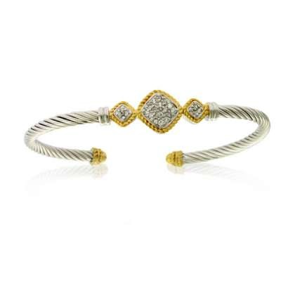 Silver Cable CZ Cuff Bracelet
