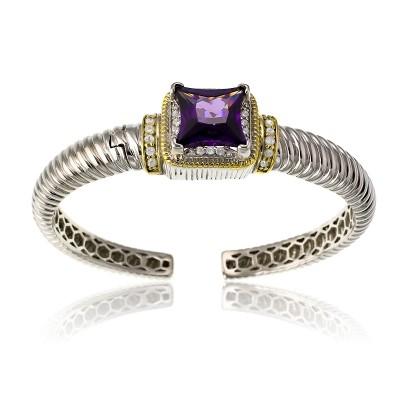 Amethyst & CZ Cuff Bracelet