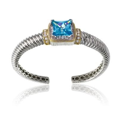 Blue Topaz & CZ Cuff Bracelet