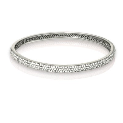 Sterling Silver Stackable Silver Tone CZ Bangle