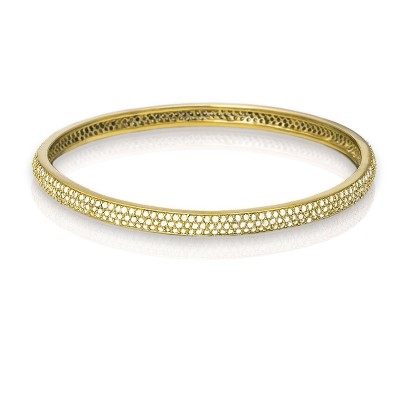 Sterling Silver Stackable Gold Tone CZ Bangle