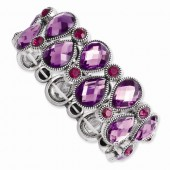 Silver-Tone Purple and Pink Epoxy Stone Stretch Bracelet