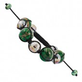 Crystal and Green Murano Glass Bracelet