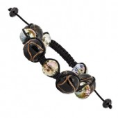 Crystal and Black Murano Glass Bracelet