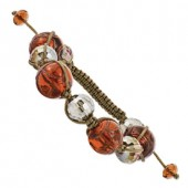 Crystal and Amber Murano Glass Bracelet