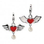 Sterling Silver 3-D Winged Heart with Pearl