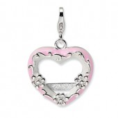 Sterling Silver 2-D Pink Heart Photo Frame